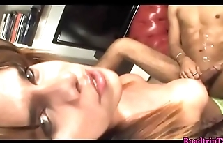 Busty trannies jizzing in mouth of lovers