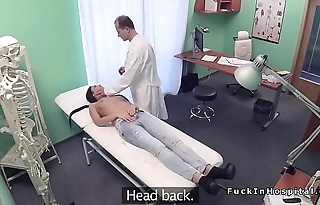 Doctor gets blowjob behind his desk