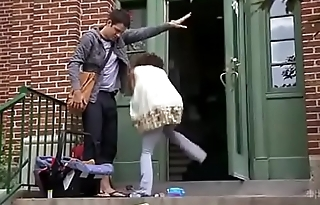 Lady Carrying Her Baby is Bursting, She Can'_t Hold It Outside Her Apartment