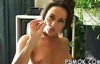 Enchanting hottie smoking