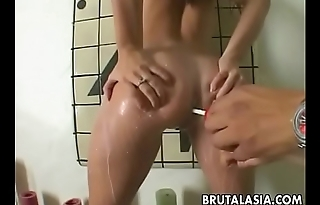 www.pornnigiri.com - Asian Ass Covered And Filled With Milk