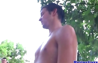 Gay fraternity assfucking outdoors