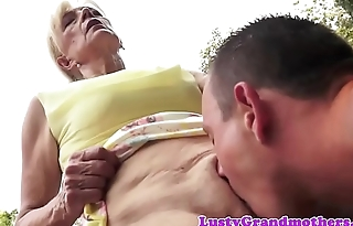 Saggy european granny pussylicked and fucked