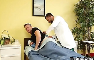 BDSM doctor ties up patient for deepthroating