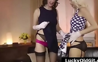Older British guy, his wife and a blonde in stocking threesome
