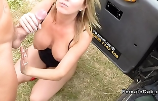 Guy bangs busty blonde female fake taxi driver
