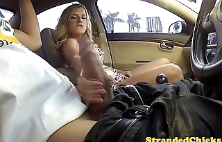 Seductive stranded coddle gets facialized