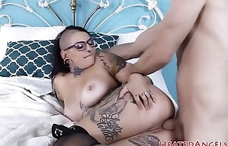 Busty spex emo gets drilled in spoon