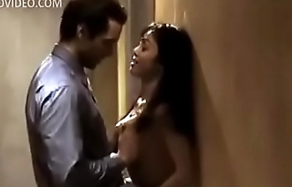 Couple fucking in public hotel corridor