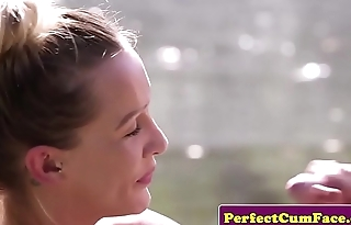 Busty tattooed beauty outdoor sucking detect