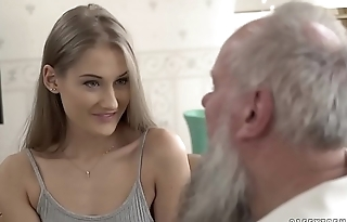 Teen beauty vs old grandpa - Tiffany Tatum with an increment of Albert