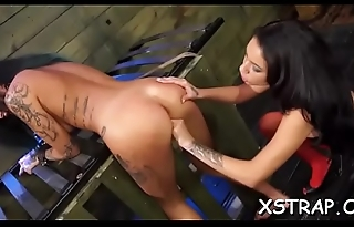 Ropped chick screwed with huge toys