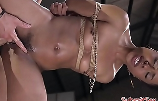 Young ebony dominated and restrained