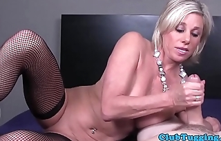 Stockinged mature jerking dick in POV action