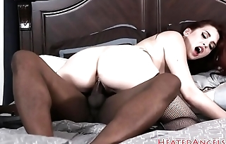 Redhead emo beauty inspected by black cock