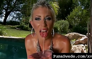 Nordic Busty Blonde Puma Swede Straddles Her Dildo Outside!