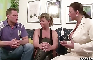 Two German Broad in the beam Tit MILFs suprise his Husband with 3some