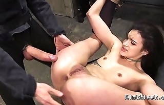 Tied up slave nipples clamped and tortured