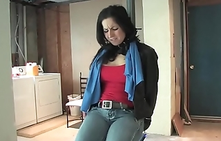 Bursting To Pee, Beautiful Sexy Girl Is Tied Up By A Burglar Together with Loses Control