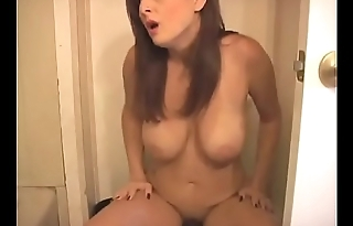 Bursting To Pee, Sexy Naked Lady Makes It To The Toilet A moment