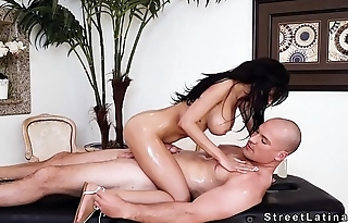 Dude cheating with pro Latina masseuse